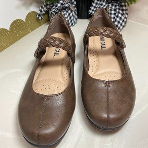 Mary Jane No Call Brown Flats with Braid Straps